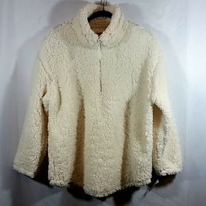 Ruby Rd. White Sherpa 1/4 Zip Pullover NWT